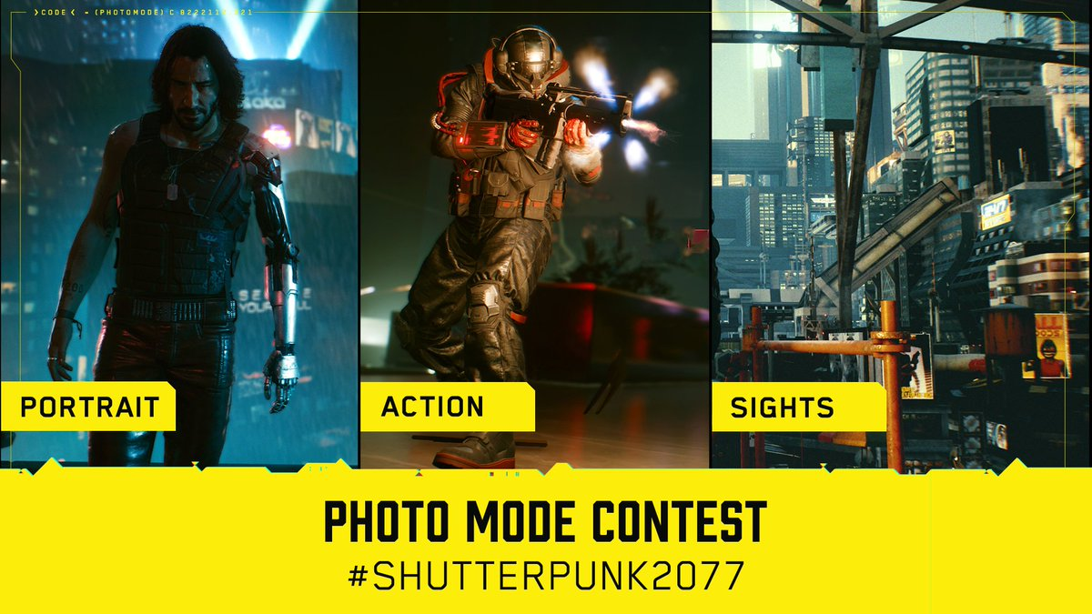Official #Cyberpunk2077 Photo Mode Contest is here!   Take a screenshot with in-game photo mode and Tweet it with #Shutterpunk2077 hashtag to participate. There are 3 categories: Portrait, Action & Sights.   We're waiting for your screenshots until Sunday, Jan 31st, 11:59 PM CET https://t.co/y26L2nlJJV