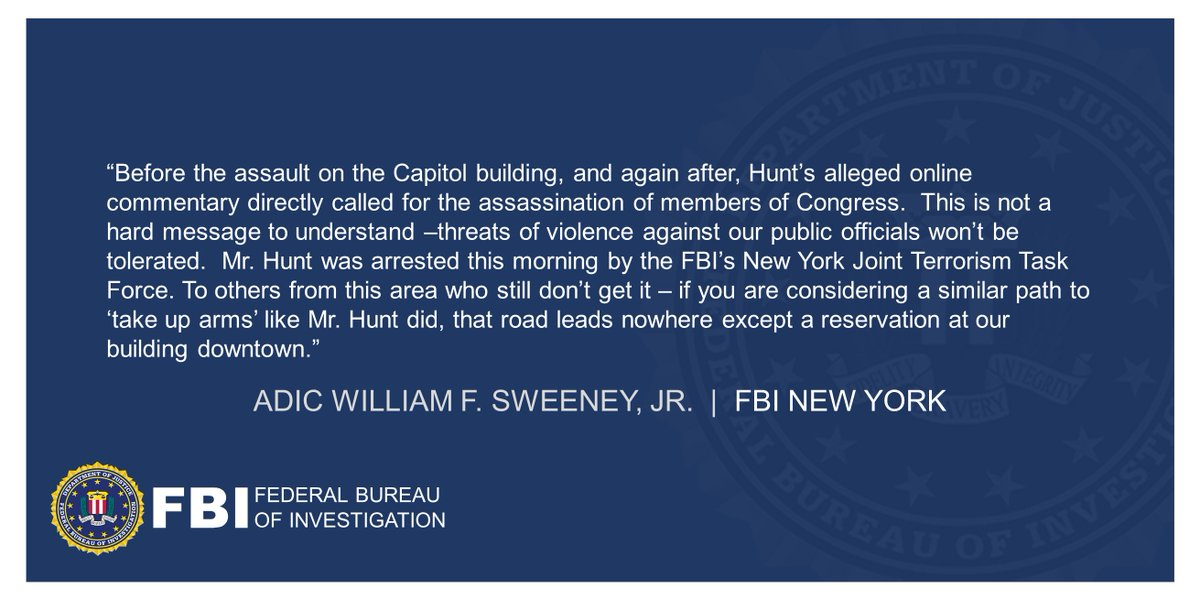 ICYMI: Queens Man Arrested for Threatening to Murder Members of Congress ADIC Sweeney: This is not a hard message to understand – threats of violence against our public officials won't be tolerated. ow.ly/aYf950DdulV Full statement below