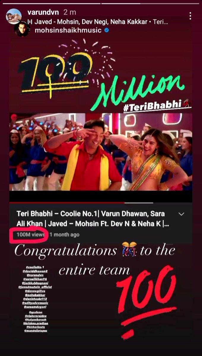 #VarunDhawan ig story ❤   #TeriBhabhi song completes 100 million views  One of my fav 🙂 Congratulations to the team  #VarunDhawan #SaraAliKhan  #CoolieNo1