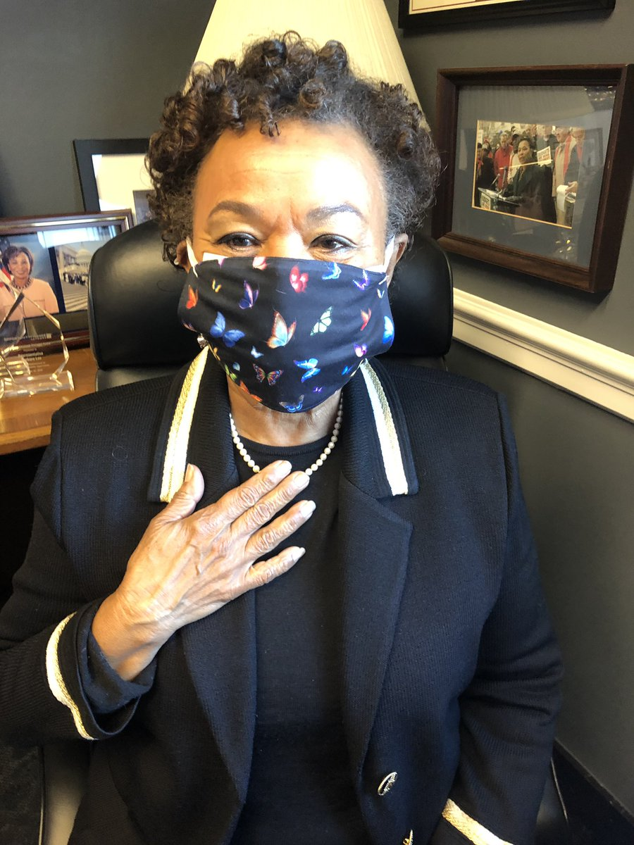 """On this historic day, I'm wearing Congresswoman Shirley Chisholm's pearls, given to me by her goddaughter, who said that her godmother """"would not want it any other way.""""  Because of Shirley Chisholm, I am.  Because of Shirley Chisholm, Vice President Harris is."""