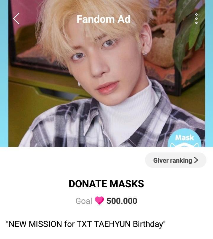 — IDOLCHAMP  ✰ Hay 2 misiones de donación para conseguir ADs para el #TAEHYUN Day y el Aniversario del debut de @TXT_members   ➥ Se dona ❤️, la meta para ambos proyectos es de 500k ❤️  • #TAEHYUN Birthday:   [+]