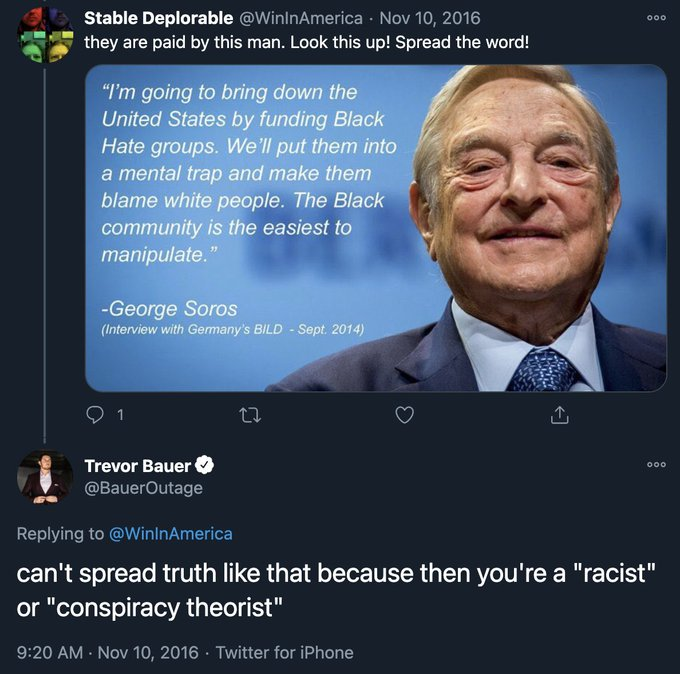Here's a Bauer tweet from 2016 I discovered wherein he's agreeing with a blatantly anti-Semitic fake conspiracy theory (fake quote). His enablers—@agentrachelluba, @KleinschmidtJD, @drivelinebases & others—need to explain why associating with him could possibly be justifiable. https://t.co/rRnX1BCL8l