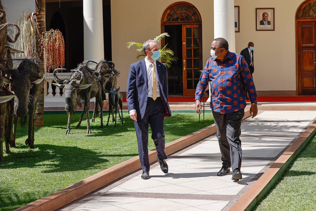 Privileged to be at such a warm and positive meeting between 🇰🇪 President Kenyatta and 🇬🇧 Foreign Secretary @DominicRaab.   Trade 🥬(already worth KES 1.4 billion), climate ☘️, girls education, and regional security were high on the agenda. https://t.co/OfMOBQqkgl