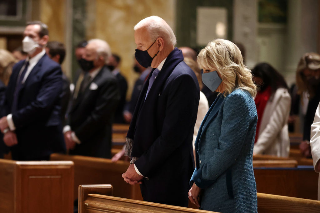 Joe Biden will be only the second Catholic president in U.S. history, and he is honoring the first — John F. Kennedy — with a connection.   Biden is attending a prayer service at St. Matthew's Cathedral, where Kennedy's funeral was held in 1963