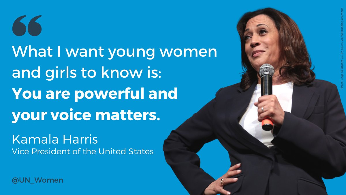 .@KamalaHarris is the first woman, first Black and first South Asian Vice President of the United States.  Here's to many more moments like this around the world.  #GenerationEquality #Inauguration2021