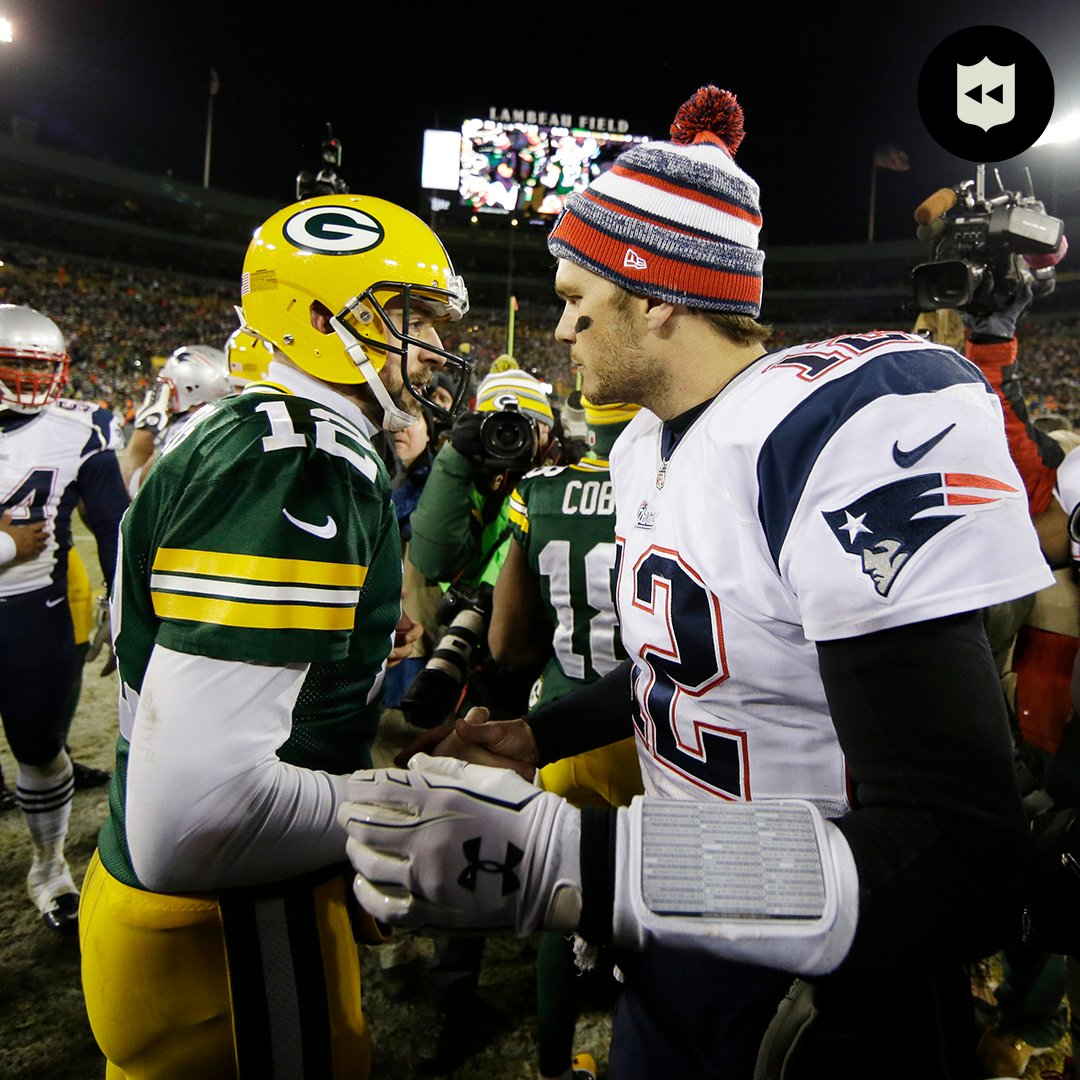Before their first #NFLPlayoffs meeting...  Let's throw it back to @TomBrady & @AaronRodgers12 first meeting ever. (via @nflthrowback)  📺: #TBvsGB -- Sunday 3:05pm ET on FOX 📱: NFL app // Yahoo Sports app