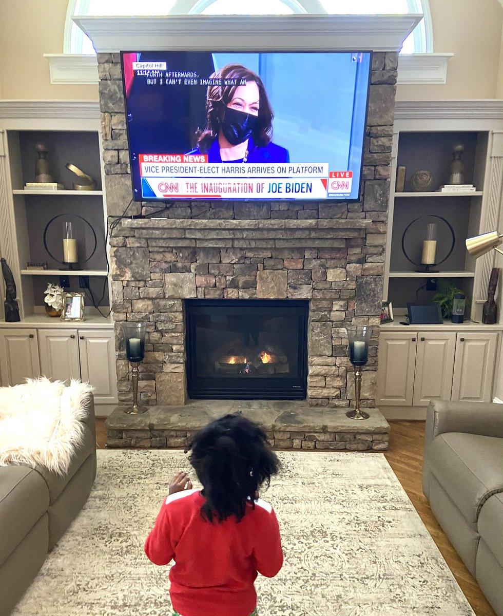 #Inauguration2021 my wife snapped this pic of my daughter watching @KamalaHarris Powerful! #BlackGirlMagic