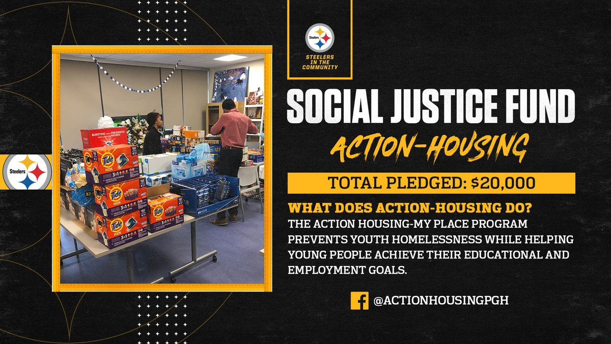 The @steelers announced donations to ACTION-Housing from @JBerry_4 and @joehaden23 with a matching contribution by the team as part of the #Steelers' Social Justice Grant program to help support community efforts.  📝: