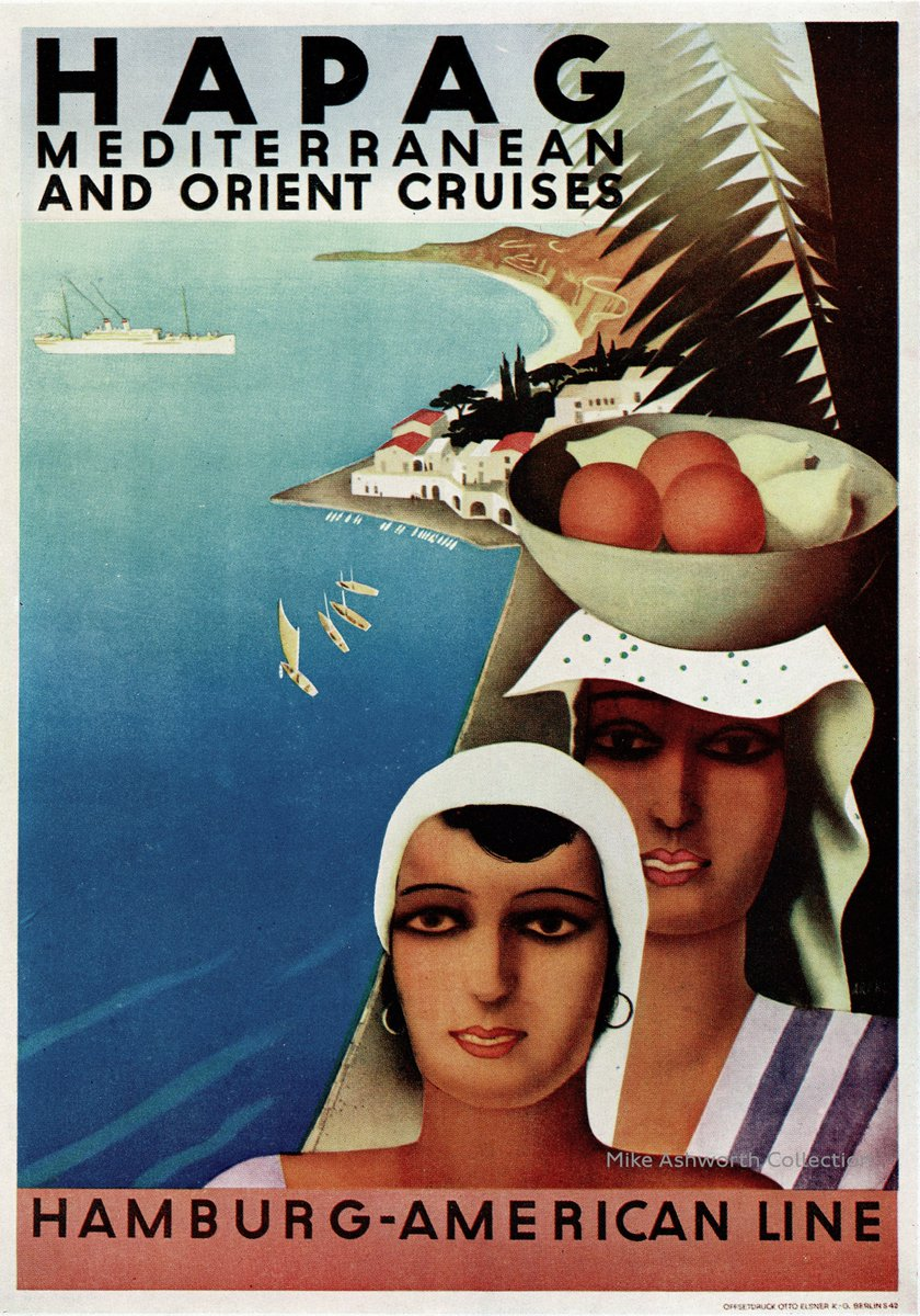 A colourful poster for #Hapag Mediterranean and Orient Cruises, Hamburg - American Line, #Hamburg , #Germany  c1930 printed by Eisner, #Berlin #Travel #poster #GraphicDesign  #Deutschland  👉