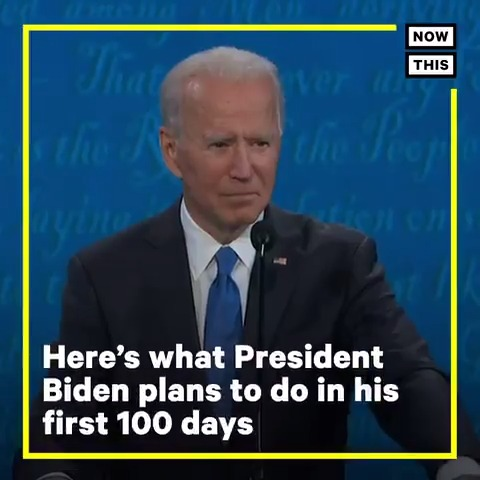 Some of Pres. Biden's first 100 days plan: * Rejoin the Paris accord * End the Muslim travel ban * Repeal trans military ban * Protect trans students * Mandate masks in federal buildings * Extend student loan & evictions pause