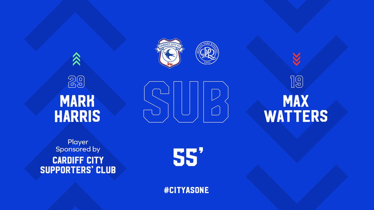 55 - First #CardiffCity change: @sparkyharris11 replaces debutant @maxwatters. (0-0)  Stream live ➡️   #CityAsOne