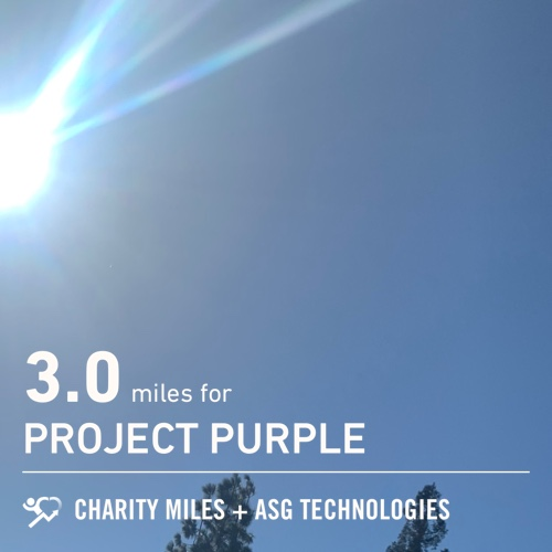 Beautiful ☀️Day 3.0 @CharityMiles! for @Run4Purple #pancreaticcancer #cancer #everymilematters #charitymiles #fiftyfans #ProjectPurple
