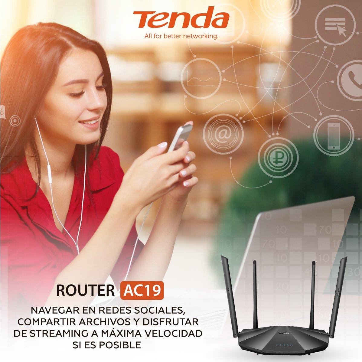 Con el Router AC19 de #Tenda puedes navegar en las redes sociales, transferir de datos y archivos de todos los tamaños, y disfrutar de todas las plataformas #streaming ; desde tu casa con uno o más dispositivos que se conecten a #WiFi, y lo mejor de todo, a máxima velocidad https://t.co/ymqsfIZVpv