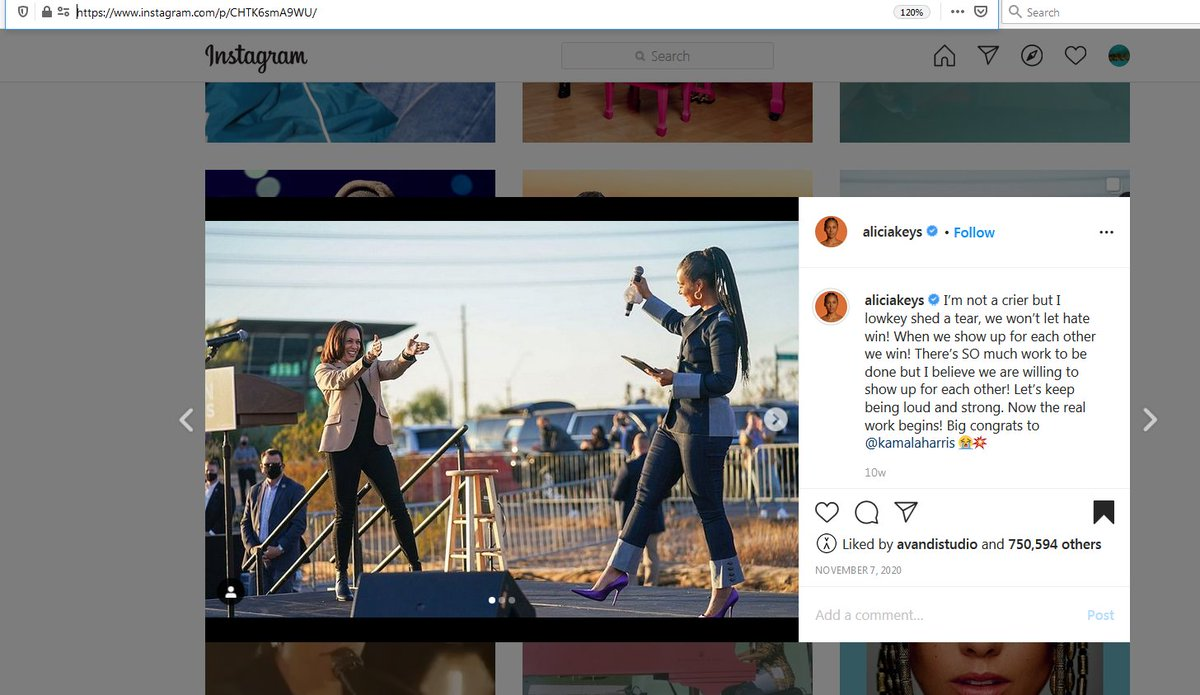 🤔7 Nov 2020, #AliciaKeys posts congrats to #Kamala & pics of them together. You would expect Alicia to post congrats today again & post pics of Kamala being sworn in as VP, right? Nothing! Alicia is not celebrating. Isn't that peculiar?!  #InaugurationDay