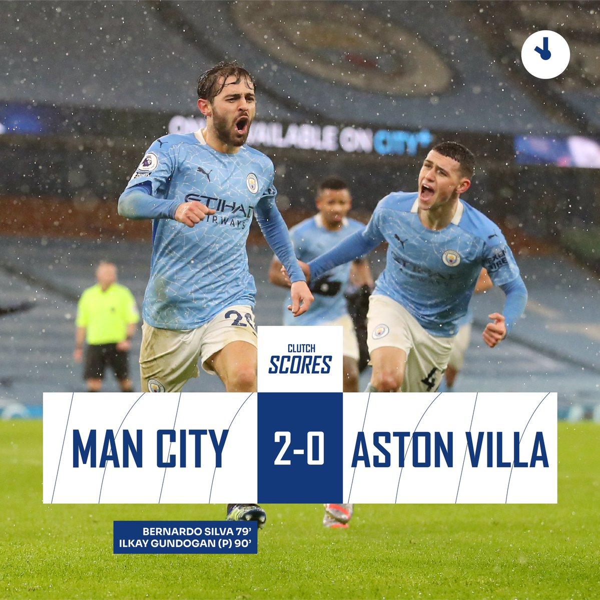 #ClutchScores  FT: Manchester City 2-0 Aston Villa  Dengan hasil ini The Citizens naik ke puncak klasemen sementara🔝  #MCIAVL #PremierLeague