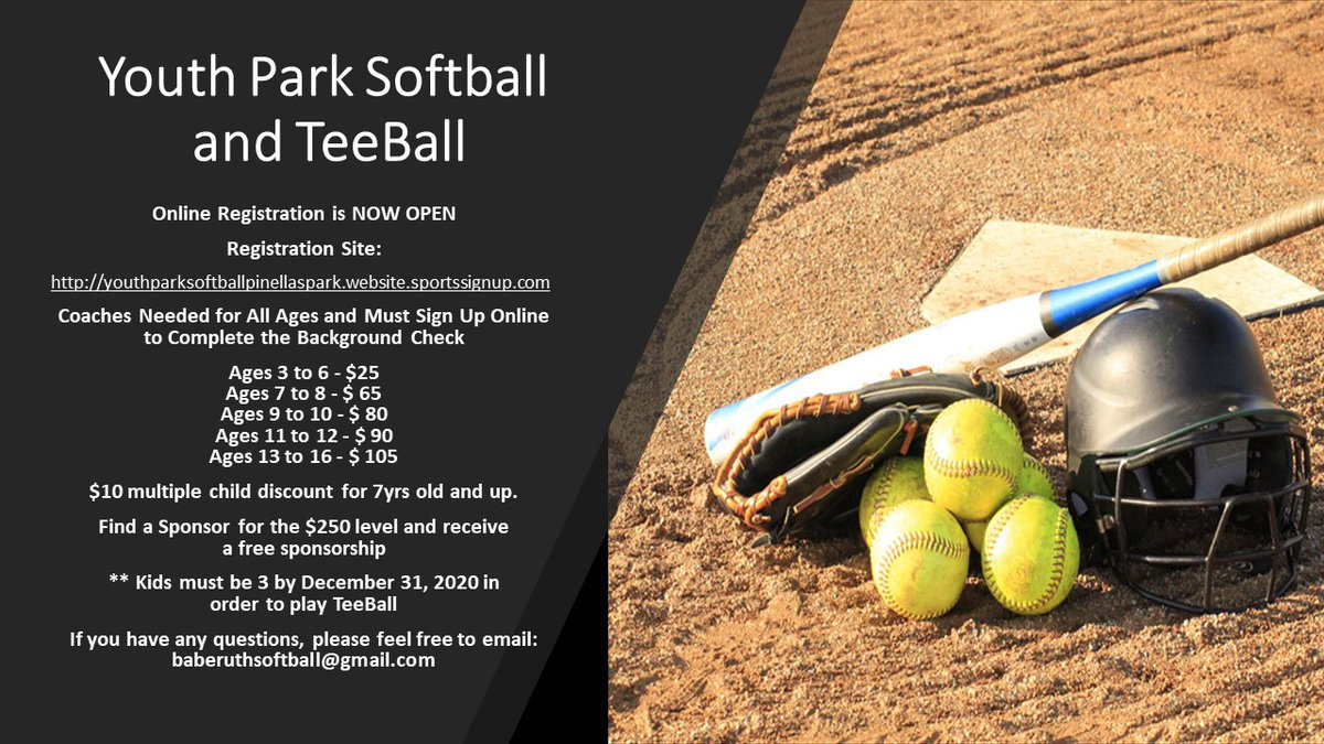 Make sure to get your child(ren) registered for the upcoming Youth Park Babe Ruth Softball and Tee-Ball season! Online registration is now open & if you have any questions, email baberuthsoftball@gmail.com or call 727-459-0575. Register NOW at: https://t.co/nkq39ODBtW https://t.co/XOcv6AyKWi
