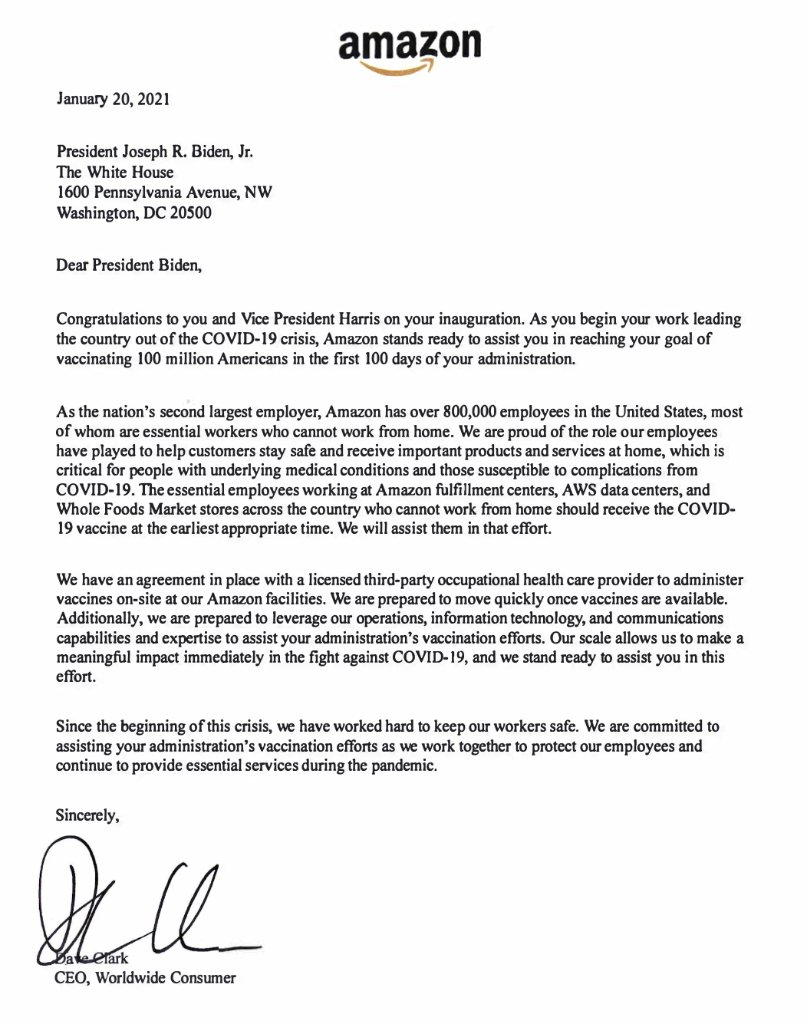"Letter to @POTUS: ""Amazon stands ready to assist you in reaching your goal of vaccinating 100 million Americans in the first 100 days of your administration."""