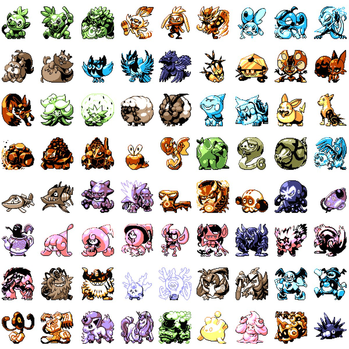 Finally finished all of generation 8 in Gameboy form! They use the Pokémon Yellow palette. You can see some different versions and almost all Gigantamax forma as well on patspixels on instagram. #pixelart #pixelartist  #pokemon #nintendo #NintendoSwitch #pokemon25 #gameboy