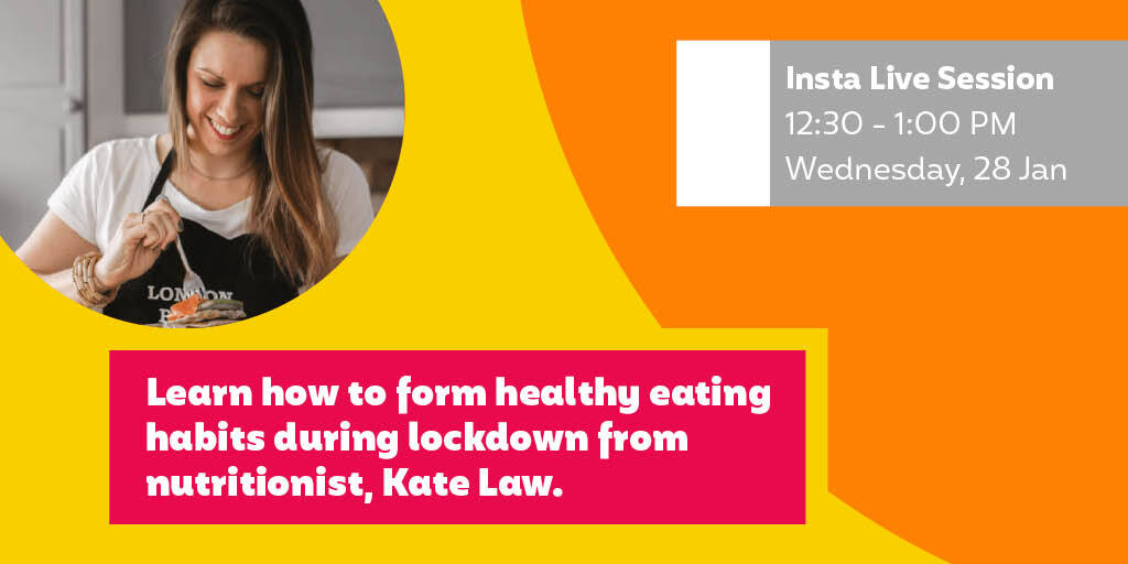We're delighted to be chatting live with nutritionist, Kate Law a.k.a. @The_Food_Boss_ , about 'Forming healthy eating habits during lockdown' next week. Tune in on our Instagram channel at 12.30 PM on 28th January with all your pressing questions!  #HealthyEating #Lockdown3 https://t.co/4l8UvVuR0P