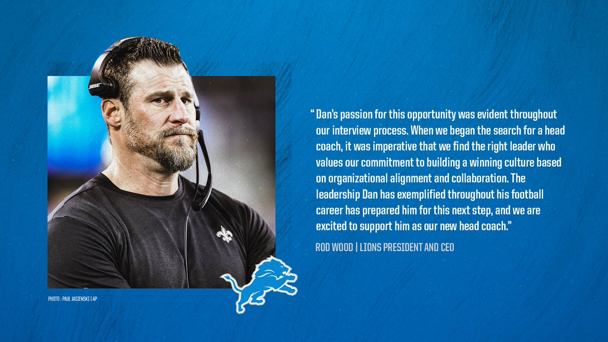 .@RodWood_Lions on hiring Dan Campbell as the team's head coach.  #OnePride