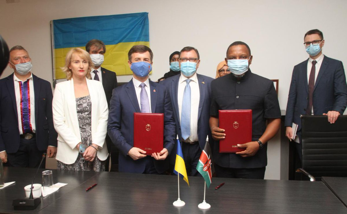 #Odesa and #Mombasa are sister cities now 🇺🇦🤝🇰🇪  The Partnership Agreement between Odesa and Mombasa cities will strengthen the ties between the business circles of the two cities, unlock mutual tourism potential and expand cooperation between cities' ports ⚓️