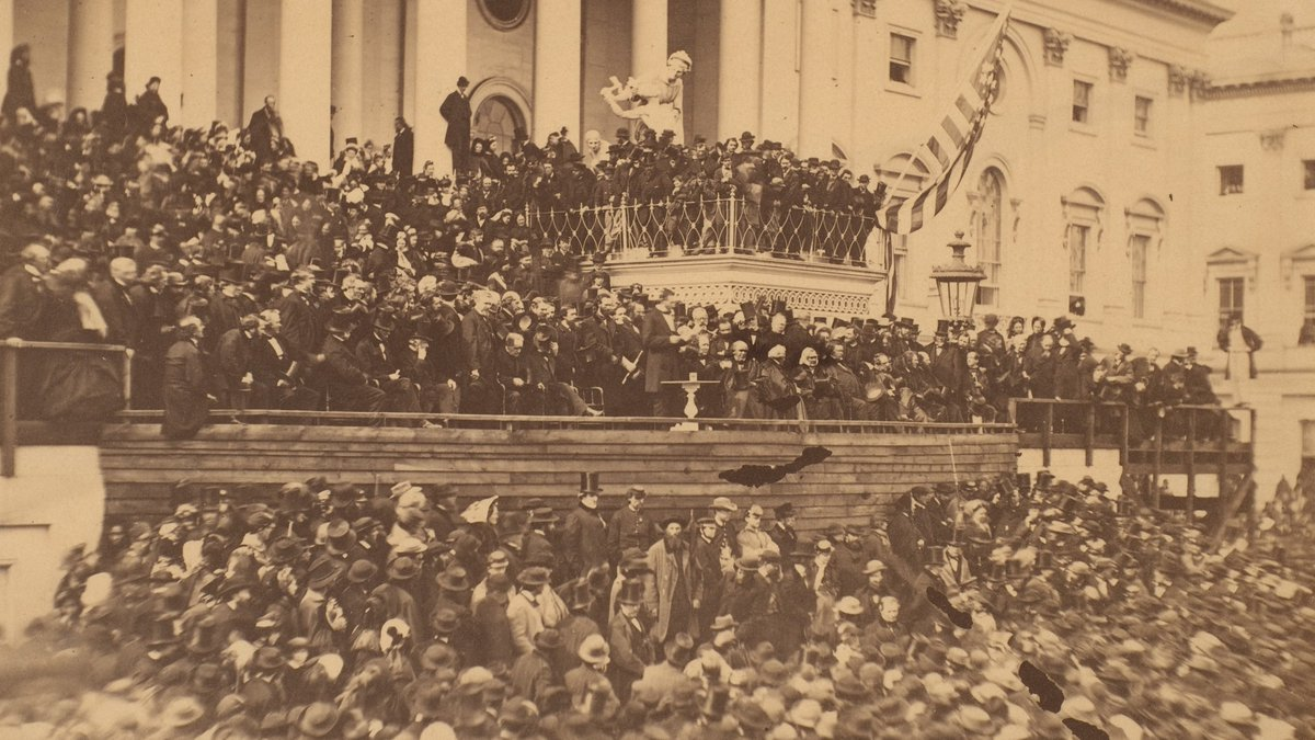 Abraham Lincoln's second #inauguration was held March 4, 1865. His brief 700-word address—now engraved on the Lincoln Memorial—spoke to a beleaguered, divided nation reeling from the Civil War, the end of which was a few months away.  It famously concluded: