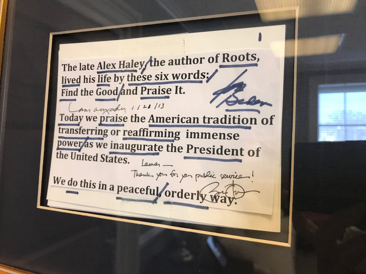 As #BidenHarrisInauguration nears, peaceful transfer of power appears underway, same as celebrated in 2013 inaugural comments by Sen. Lamar Alexander that #Biden, #Obama autographed before script was hung in Alexander's #Capitol office. https://t.co/L0Ipgimxdu