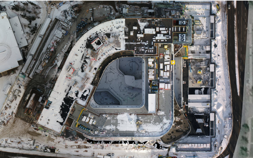Check out the unique and spectacular bird's eye view of the new Calgary Cancer Centres inner courtyards (middle) and radiation treatment areas (right). Want more? For the latest project updates: bit.ly/38OLLsG @albertacancer