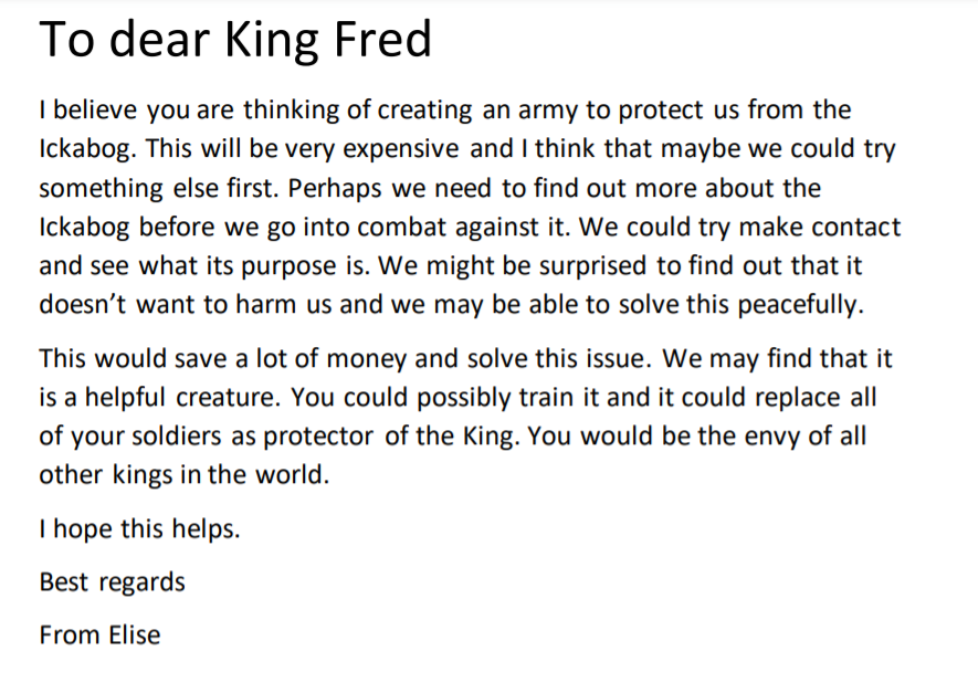 ...and today we wrote letters to King Fred suggesting alternative ways of keeping Cornucopia safe from #TheIckabog ✉️  #WhatITaughtToday @TheIckabog