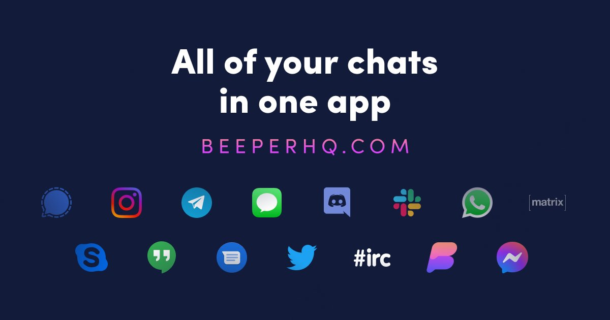 New app alert: I've been working on Beeper for a while and today we're launching! It's a single app to chat on iMessage, WhatsApp, and 13 other networks. Been using it as my default chat client for the last 2 years and there is NO going back. Check it out