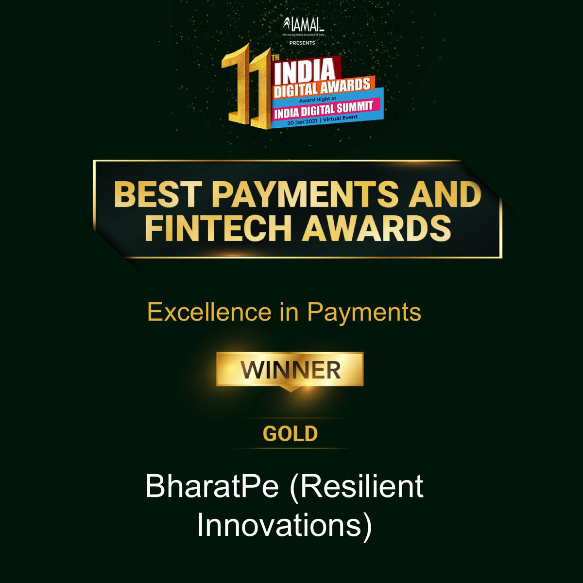 The winner for Best Payment and Fintech Awards under Excellence in Payments is Gold- BharatPe (Resilient Innovations) To know more, please visit:  #IDA2021 #digitalawards #callforentries #socialmedia #content #awards