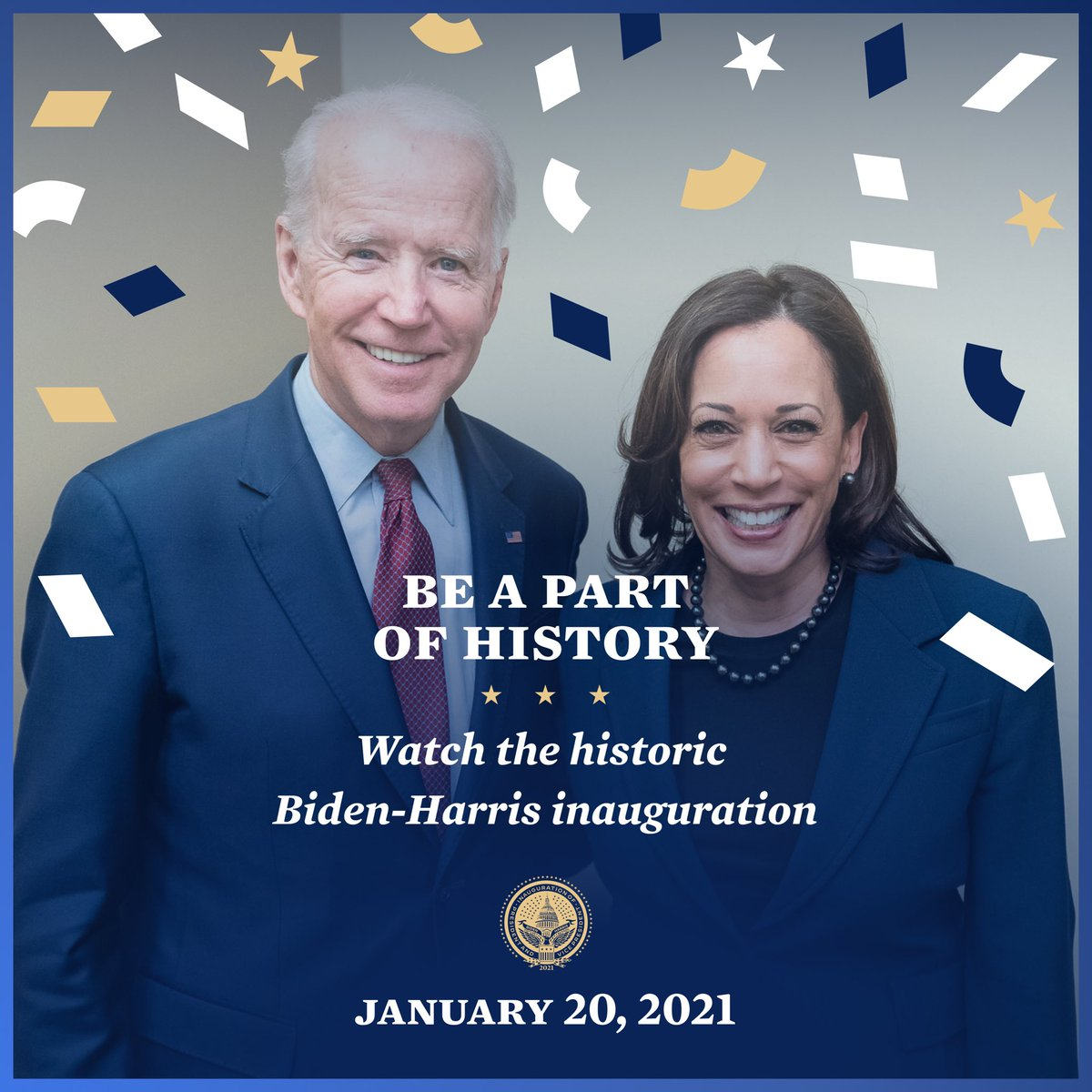 @BidenInaugural I could not be happier today for our country & world as our new President @JoeBiden & Vice President @KamalaHarris are inaugurated! Congratulations to them & also to our First Lady @DrBiden & Second Gentleman @DouglasEmhoff.  🎉 U.S. democracy rises again this #Inauguration2021!