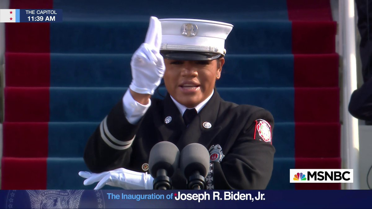 Prioritizing accessibility.   Andrea Hall, the president of the International Federation of Firefighters, reads and signs the Pledge of Allegiance.