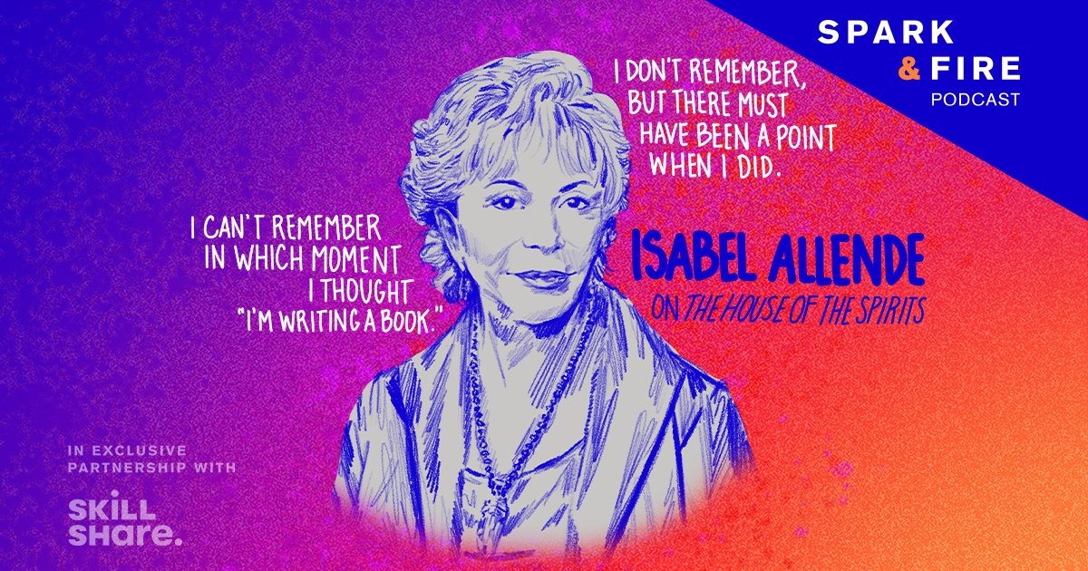 "Hear novelist @isabelallende share how her 500-page typed manuscript, heavy with correction fluid and coffee stains, found its way to an agent in Madrid who made ""The House of the Spirits"" an instant international sensation. @SparkandFirePod   Listen here:"