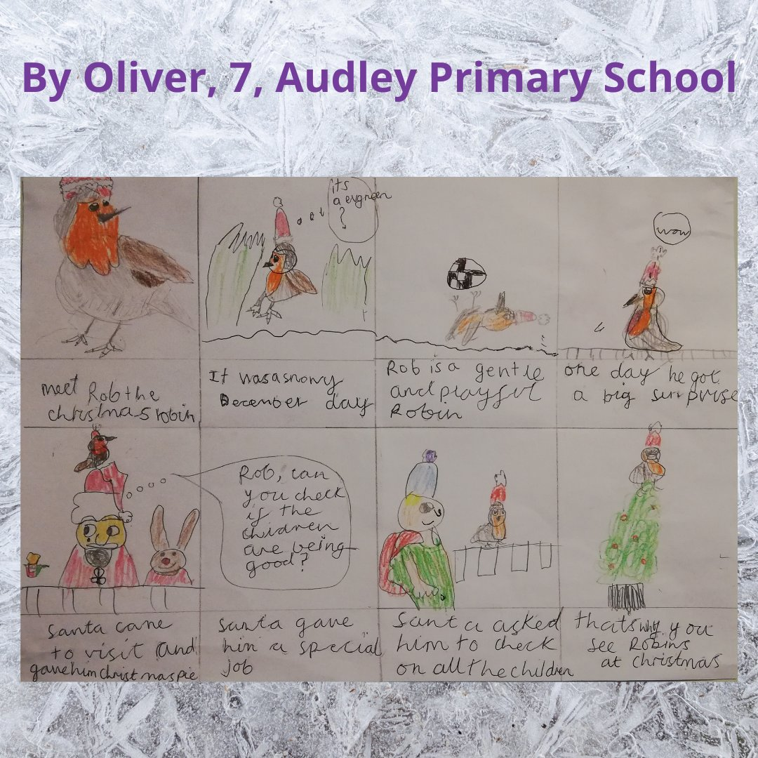 The third runner-up of our Festive #Writingcompetition is Oliver, 7, from @audleyprimary in #Caterham, with his fab pictures of Rob the #Christmas Robin. We loved how Oliver used bright colours to tell us the cheery story of this helpful bird! Well done Oliver! #storytelling
