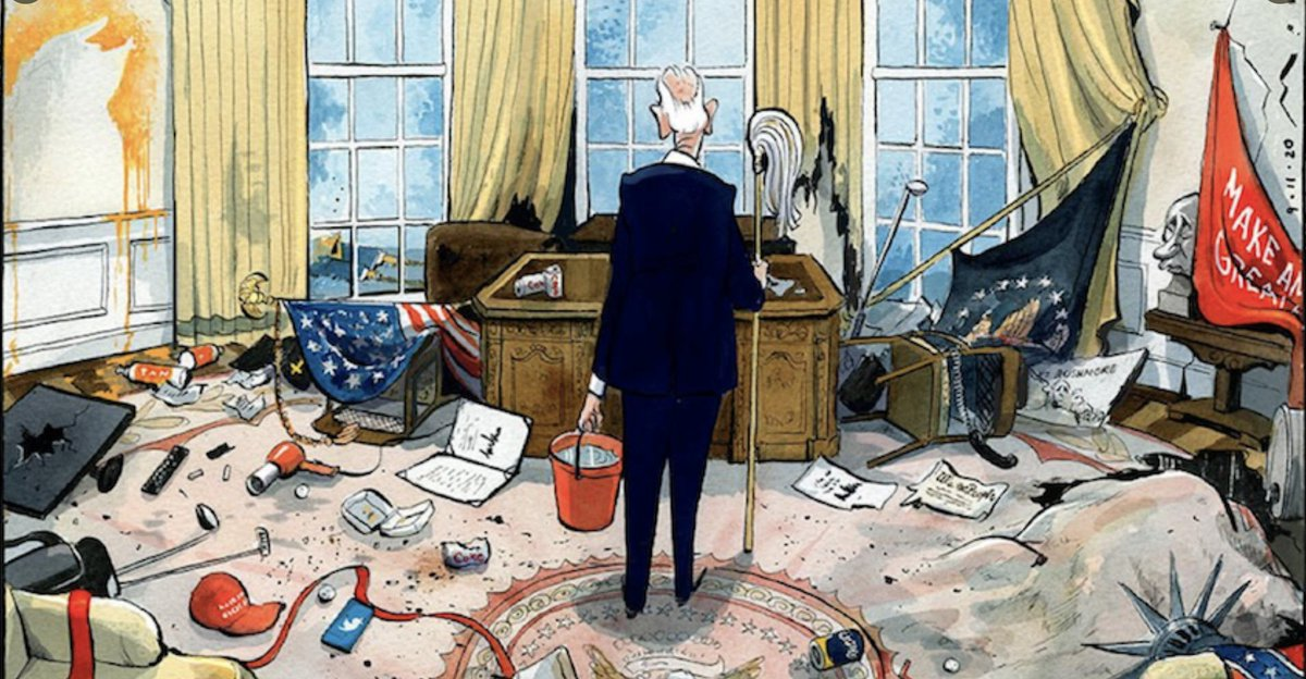Replying to @Number10cat: Now the hard work begins... #InaugurationDay (brilliant cartoon journalism by @mortenmorland)