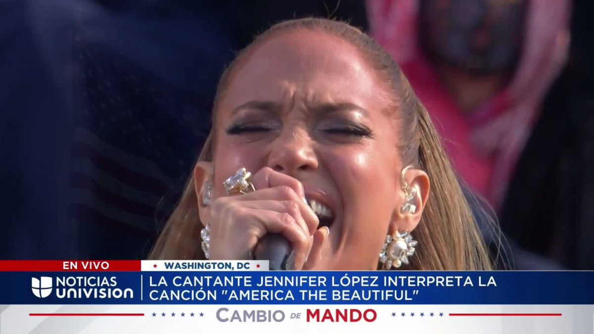 """A moment. We heard @JLo recite the final lines of the Pledge of Allegiance in Spanish while singing """"This Land is Your Land.""""  """"Una nación, bajo Dios, indivisible, con libertad y justicia para todos."""""""
