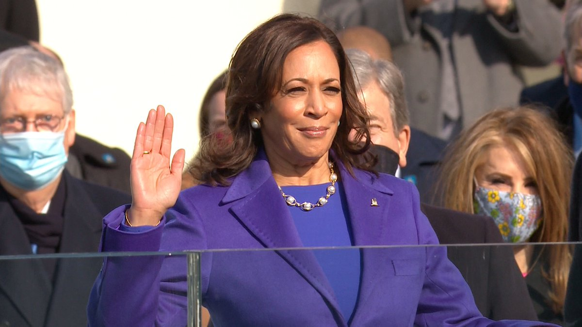 Kamala Harris is sworn in as the first woman, first Black person and first South Asian to hold the office of US vice president. Follow live updates: