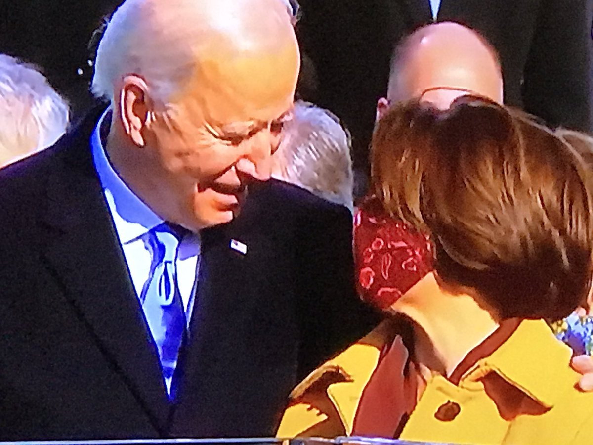 After President Biden sworn in, a few words w @amyklobuchar. Need to find out what he said.