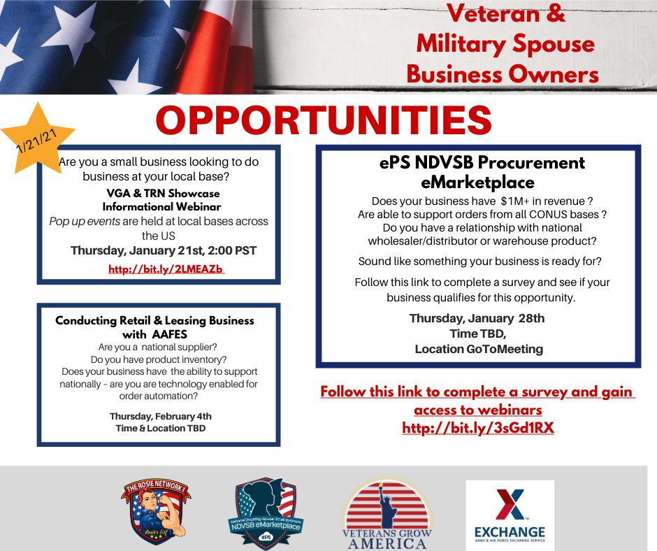 Are you a veteran or military spouse business owner, looking to grow your business?  Check out these great opportunities brought to you by The Rosie Network, @veteransgrowusa, ePS NDVSB eMarketplace and @shopmyexchange.  #veteranowned #militaryspouseowned #growyourbusiness