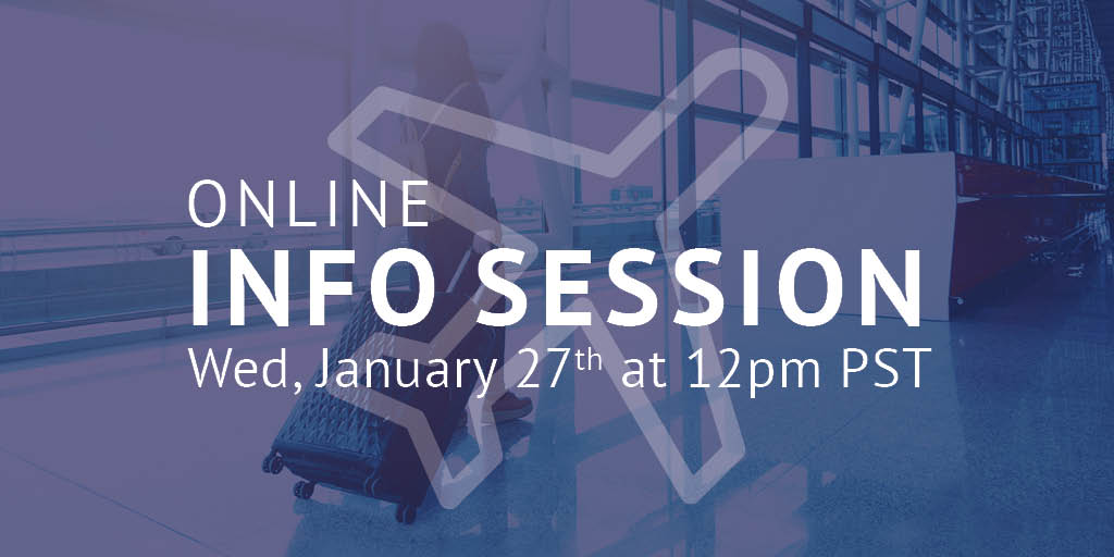 Join us at our online #InfoSession on Jan 27th at 12pm PST!   ✈️ Learn how to get started at CTC as soon as THIS spring!  ✈️ Get more information on the admissions process. ✈️ Discover more about our #tourism programs and career paths.  Register:
