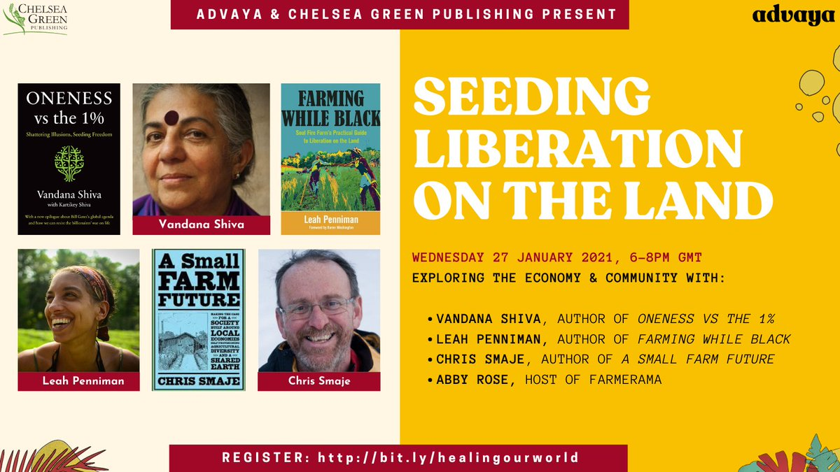 This time next week we will be exploring land justice, economy and community with @chelseagreen authors @drvandanashiva, Leah Penniman of @soulfirefarm, and Small Farm Future author @csmaje   Register here:   #foodjustice #agroecology #communityhealing