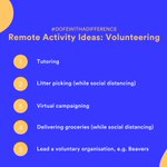 If your participants' usual #DofE activities aren't possible right now due to lockdown, here's some fun activity ideas to continue their Volunteering section from home. #DofEWithADifference  Read the full list here: https://t.co/6l3fKUjhOs