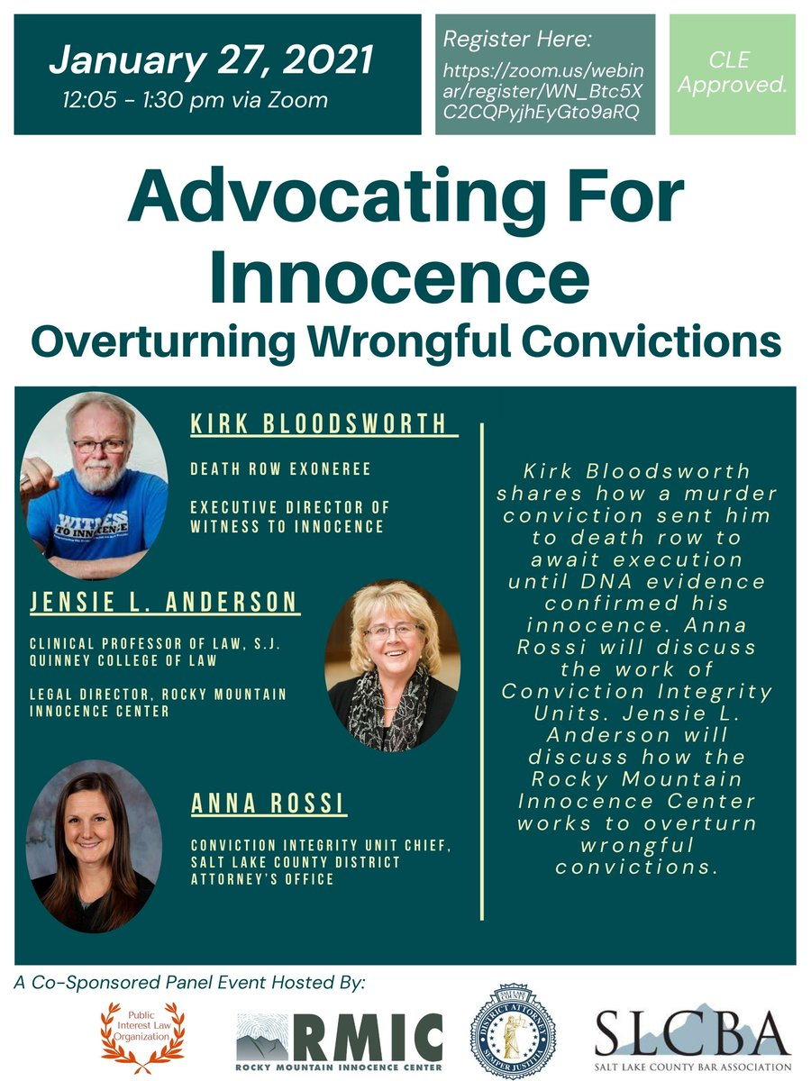In just one week - WTI Executive Director, Kirk Bloodsworth, will share his wrongful conviction story at Advocating For Innocence: Overturning Wrongful Convictions event. Register here:  @RM_Innocence  @SLCBA1 #DeathRowExoneree #NoDeathPenalty