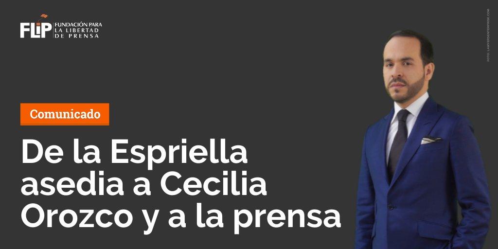 #ComunicadoFLIP | La FLIP expresa su preocupación por la intención de censura de Abelardo De La Espriella sobre la periodista @CeciliaOrozcoT. ⚠️  No es la primera vez que el abogado abusa de herramientas legales para intimidar voces que lo cuestionan. ⏬