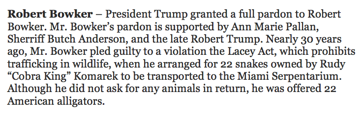 """No Trump pardon for the """"Tiger King,"""" but he did pardon a man who once smuggled snakes for the a man called the """"Cobra King.""""  Also, that last line!"""