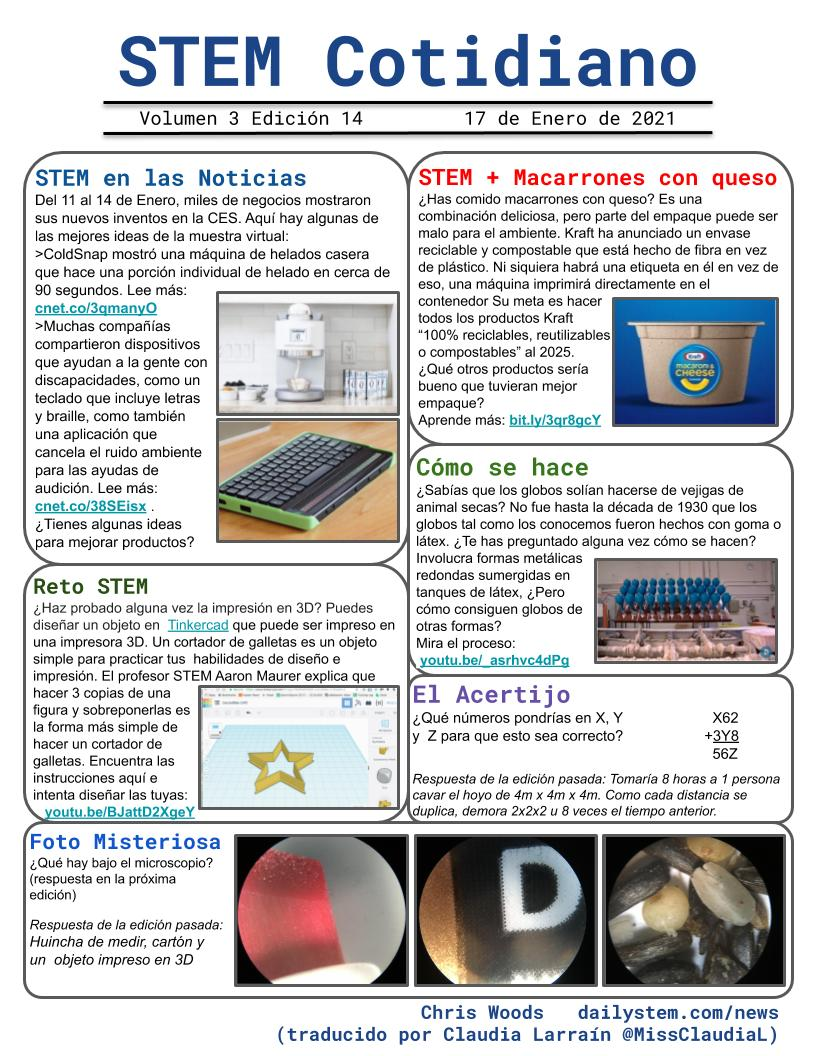 Latest issue of #DailySTEM is now available in Spanish & French! #STEMCotidiano #STIMauquotidien Download/Share at   (thanks to @MissClaudiaL @jereid2 @christinelong22) #STEM #STIM #Literacy #ESL