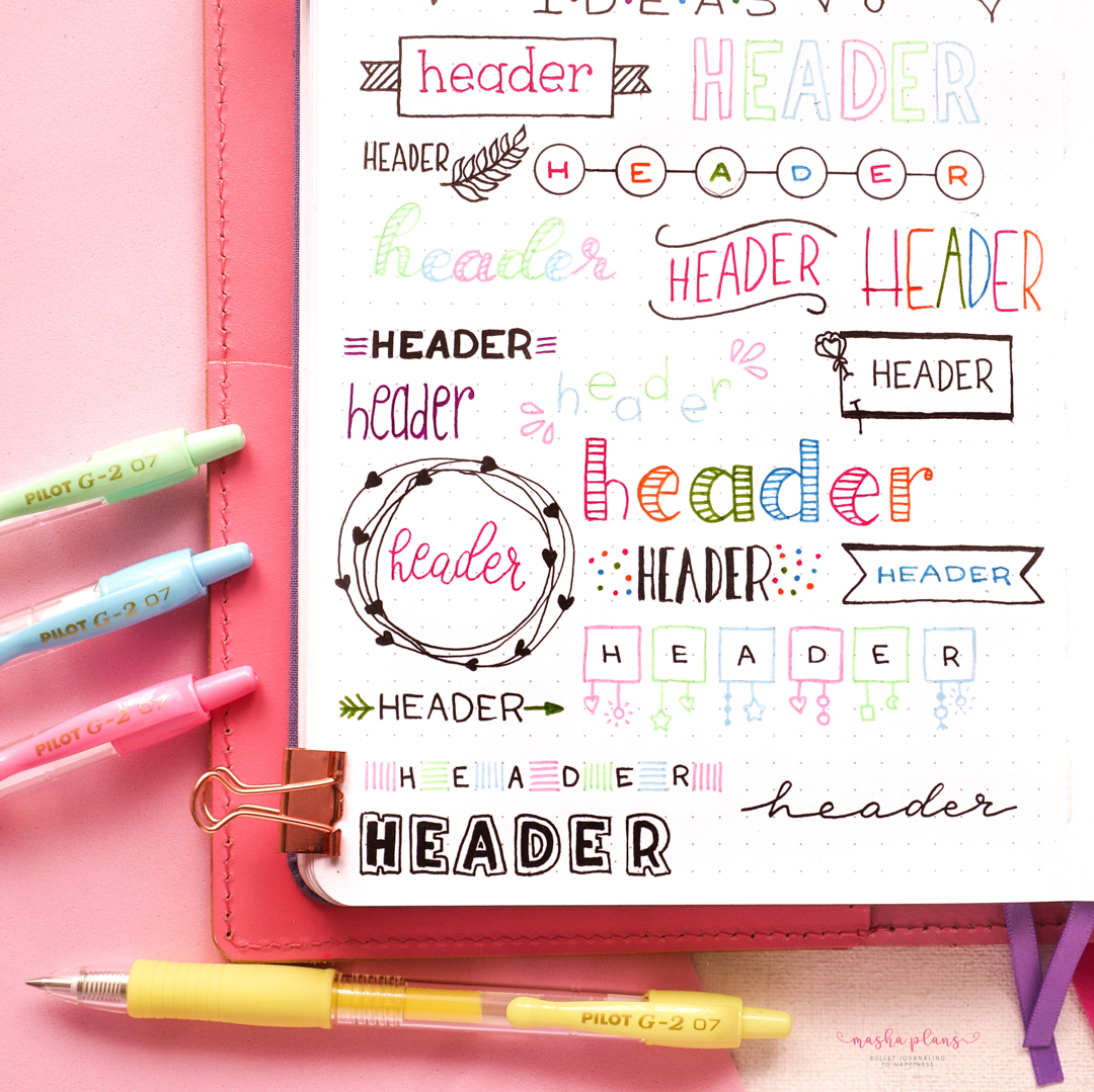 """What are your 2021 BuJo goals? Creating colorful and unique """"headers"""" is ours! #PowerToThePen  📸: mashaplans"""