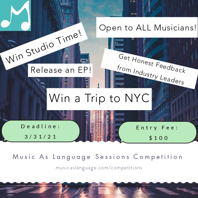 Win a FREE trip to NYC (post-pandemic) to record and release an EP at a leading studio!  Deadline March 31st - $100 to enter  Share with all musicians in your life!     #music #musician #musicians #band #singersongwriter #cover #competition #recording