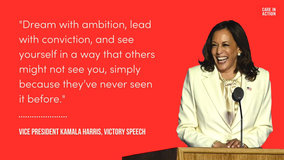 Congratulations to the first Black Vice President. The first South Asian Vice President. The first woman Vice President. We're ready to win our wildest dreams with a care champion like @VP Kamala Harris in the White House.